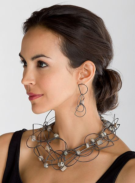 Photo of Tangle Half-Circle Necklace & Earrings – Jasper by Heather Guidero (Silver & Stone Jewelry) | Artful Home