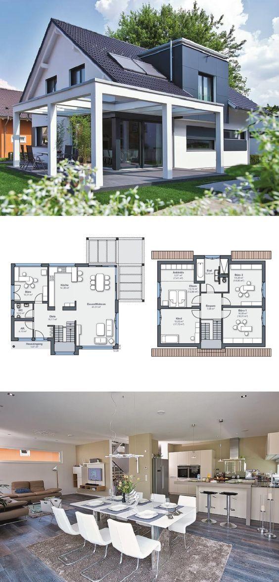 Einfamilienhaus Architektur Modern Mit Satteldach Und Pergola Terrasse    Fertighaus Grundriss Generation 5.5 Haus 300