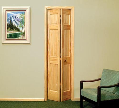 """6 Pnl. Unfinished Pine 2-Leaf Bi-Fold Door, 32"""" x 80"""" at ..."""