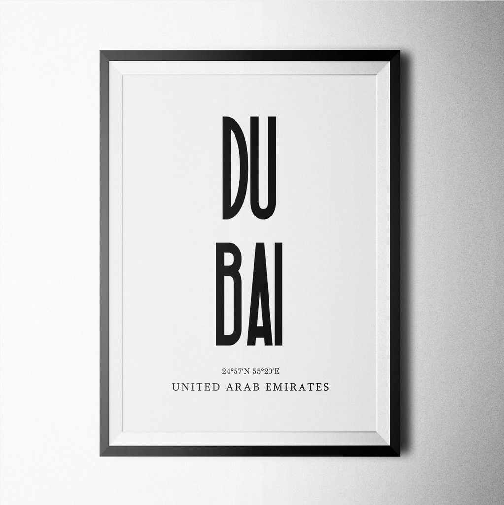 Black and white Dubai poster design for home or office decoration ...