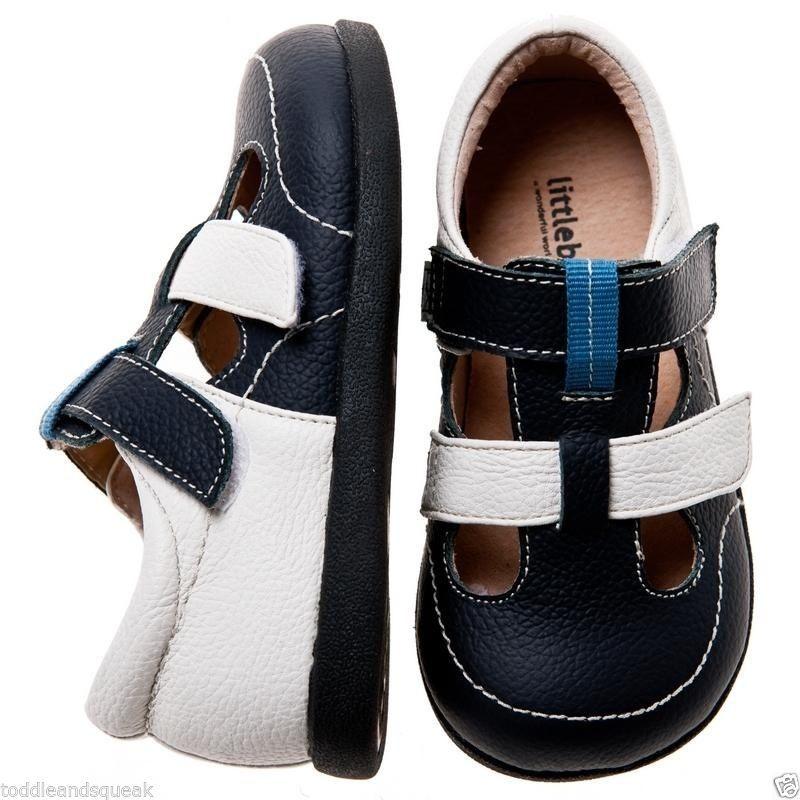 Little Blue Lamb Boys Infant Navy + White Leather Toddler Shoes / Sandals