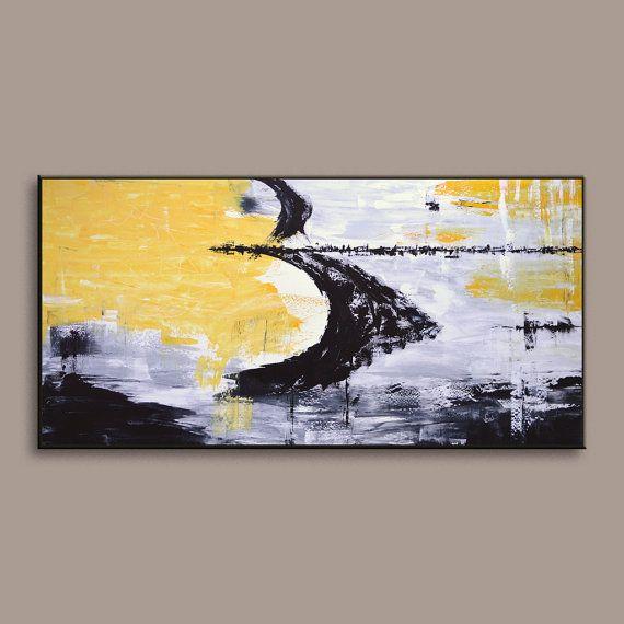 SALE 72 Yellow Gray Black White Original Extra by EditVorosArt ...