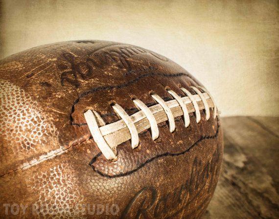 Vintage Style Photo Print, Football on Rustic Wood, Boys ...