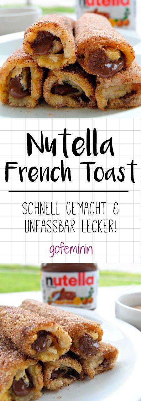 Dieses Rezept für Nutella French Toast Rolls ist sooo einfach und sooo gut! #nutella #frenchtoast #rezepte #süßes #frenchtoastrollups