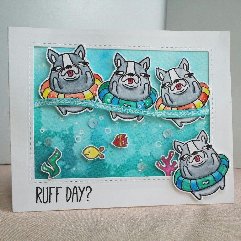 Ruff day card  #papercrafts #card making #stamps #스탬프아트카드 #수제카드 #카드메이킹 #로이공작소 #neatandtangled#clearstamps#핸드메이드카드