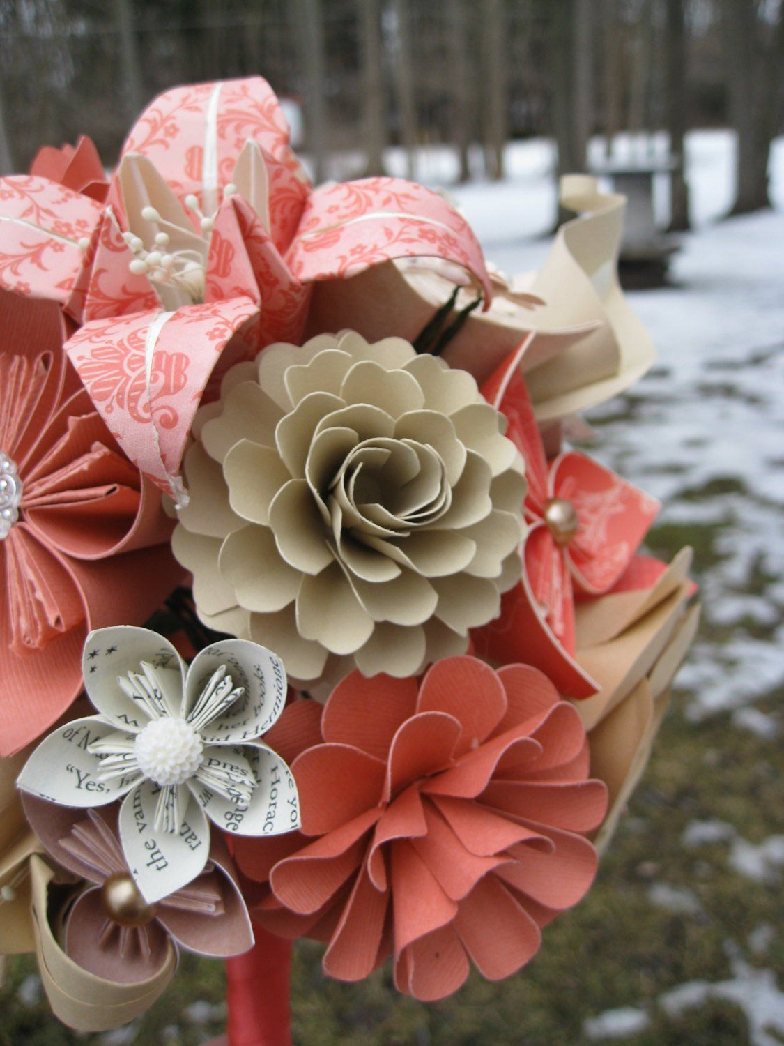 Custom Paper Flower Wedding Bouquet Books You Pick The Colors Papers Etc.