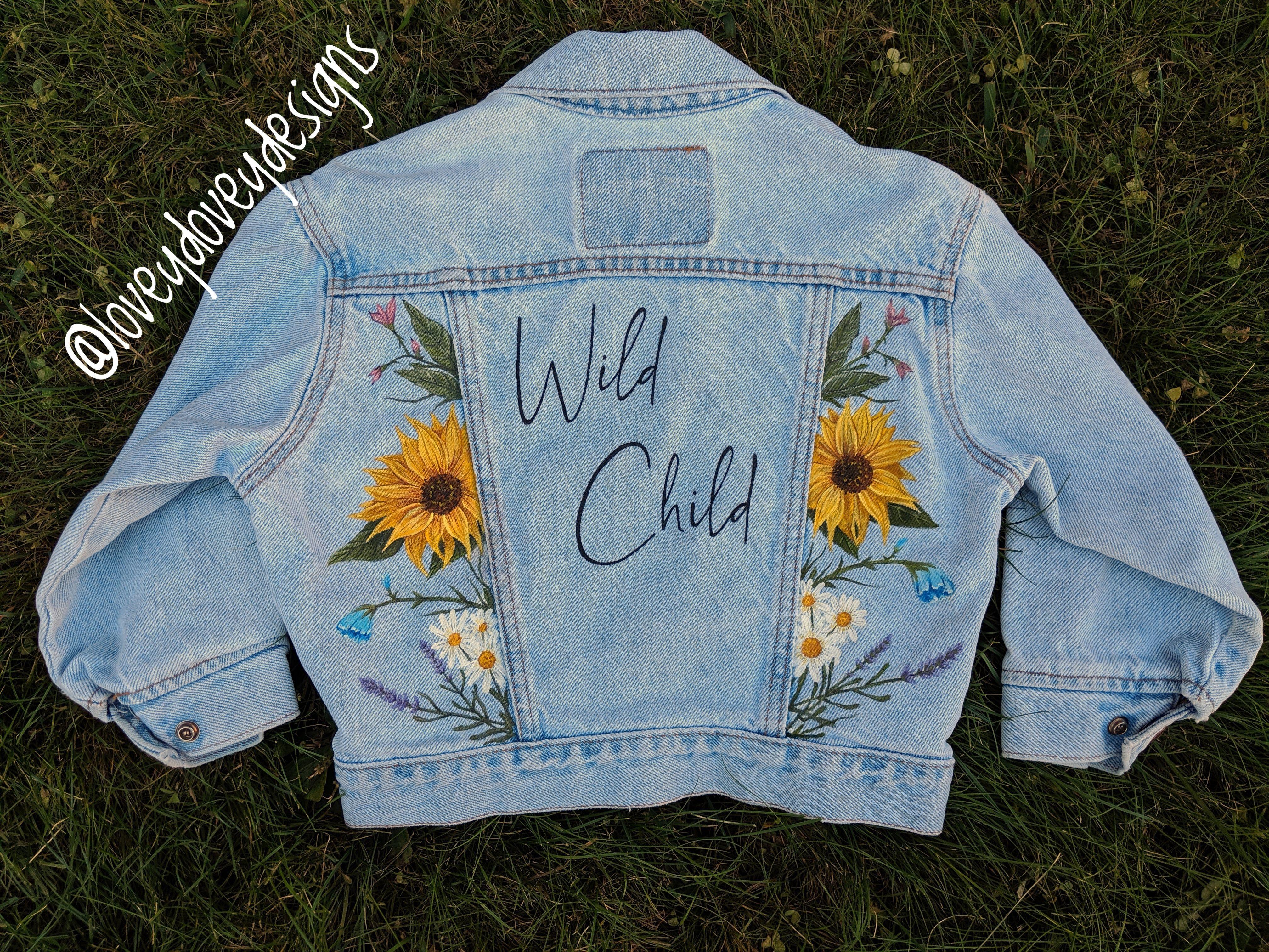 Painted Denim Jacket Kids Clothing Wild Child Denim Jacket Diy Paint Hand Painted Denim Jacket Diy Jacket [ 3024 x 4032 Pixel ]