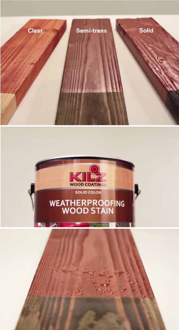 Make Your Outdoor Wooden Surfaces Last Longer With Kilz Weatherproofing Solid Color Stain This Acrylic Woo Wooden Patio Furniture Patio Flooring Wooden Patios