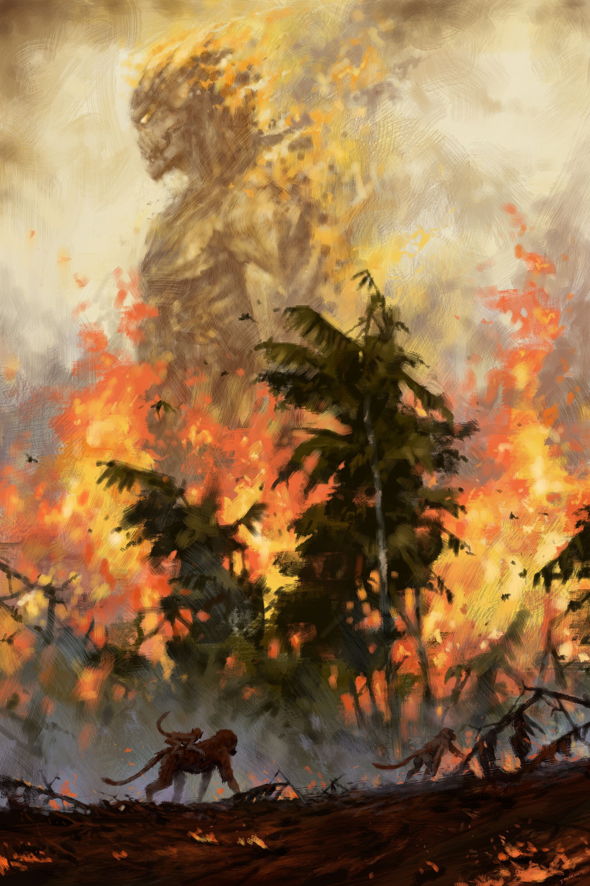 Artstation The Fire Demon Of The Rainforests Jakub Rozalski