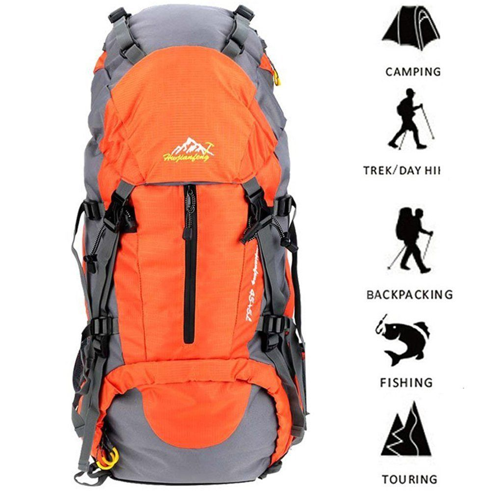 33c0d015026e Amazon.com   ONEPACK 50L(45+5) Hiking Backpack Daypack Waterproof Outdoor  Sport Camping Fishing Travel Climbing Mountaineering Cycling Skiing with  Rain ...