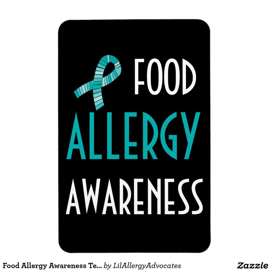 Food Allergy Awareness Teal Ribbon Black and Teal Rectangular Photo Magnet