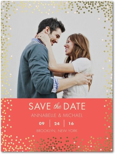Fanciful Sprinkle - Signature Foil Save the Dates - Petite Alma - White : Front