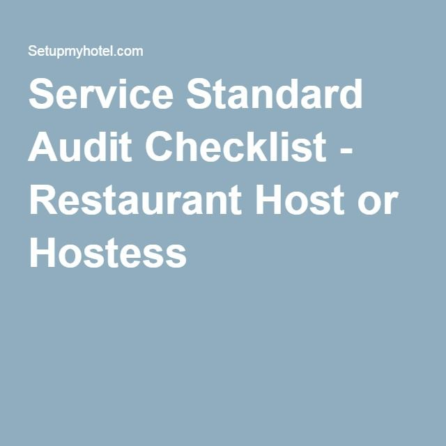 Service Standard Audit Checklist  Restaurant Host Or Hostess