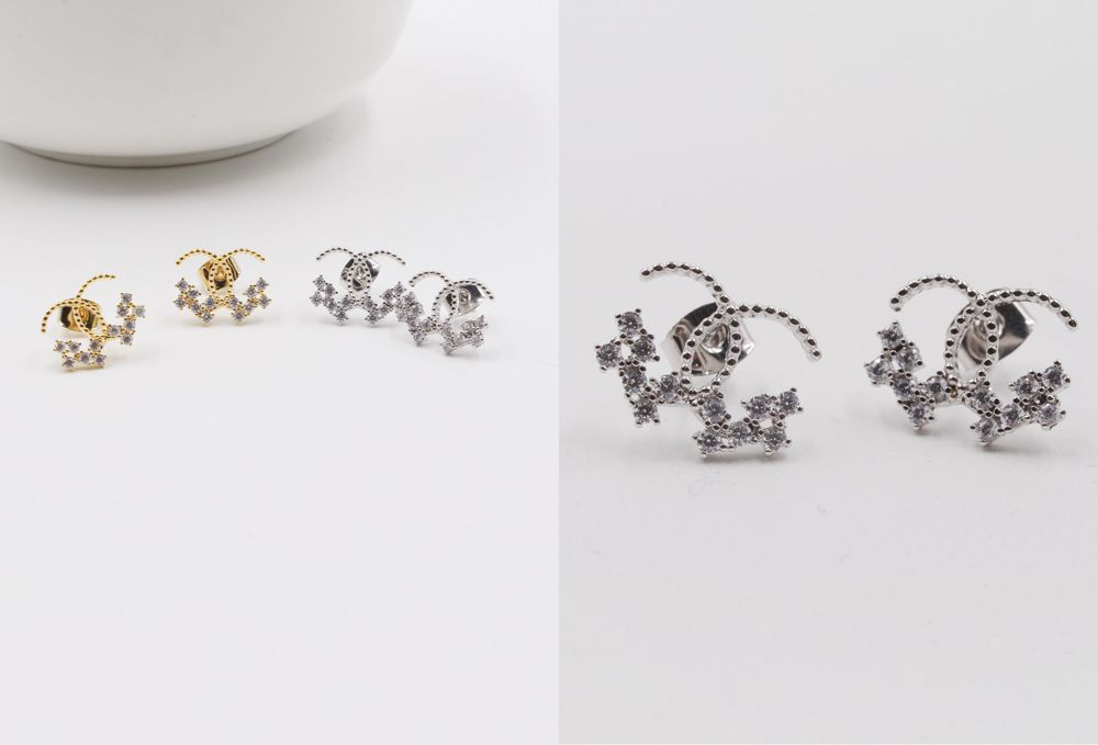 حلق شانيل هاف زركون Accessories Earrings Stud Earrings Earrings