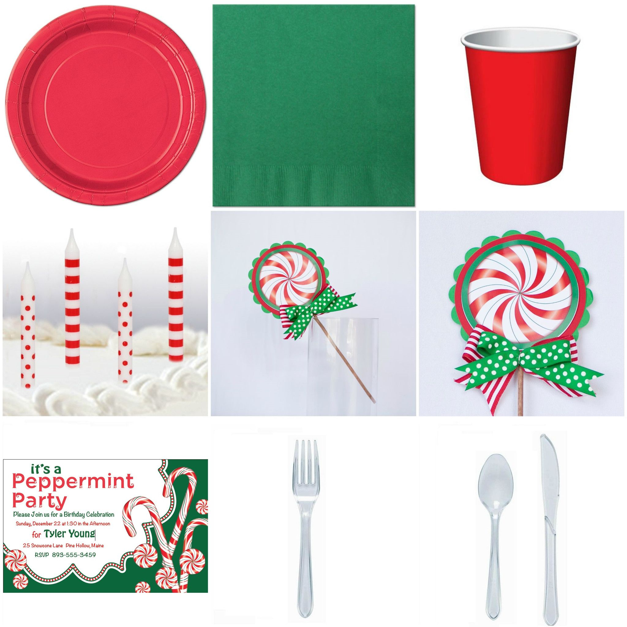 Kid Birthday Christmas Peppermint Basic Party-in-a-box   Christmas ...