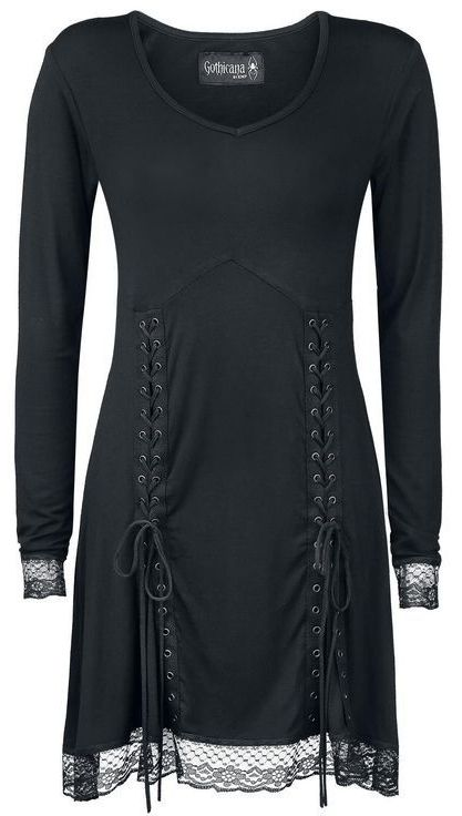 black longsleeve dress with front lacing  & lace trim <3