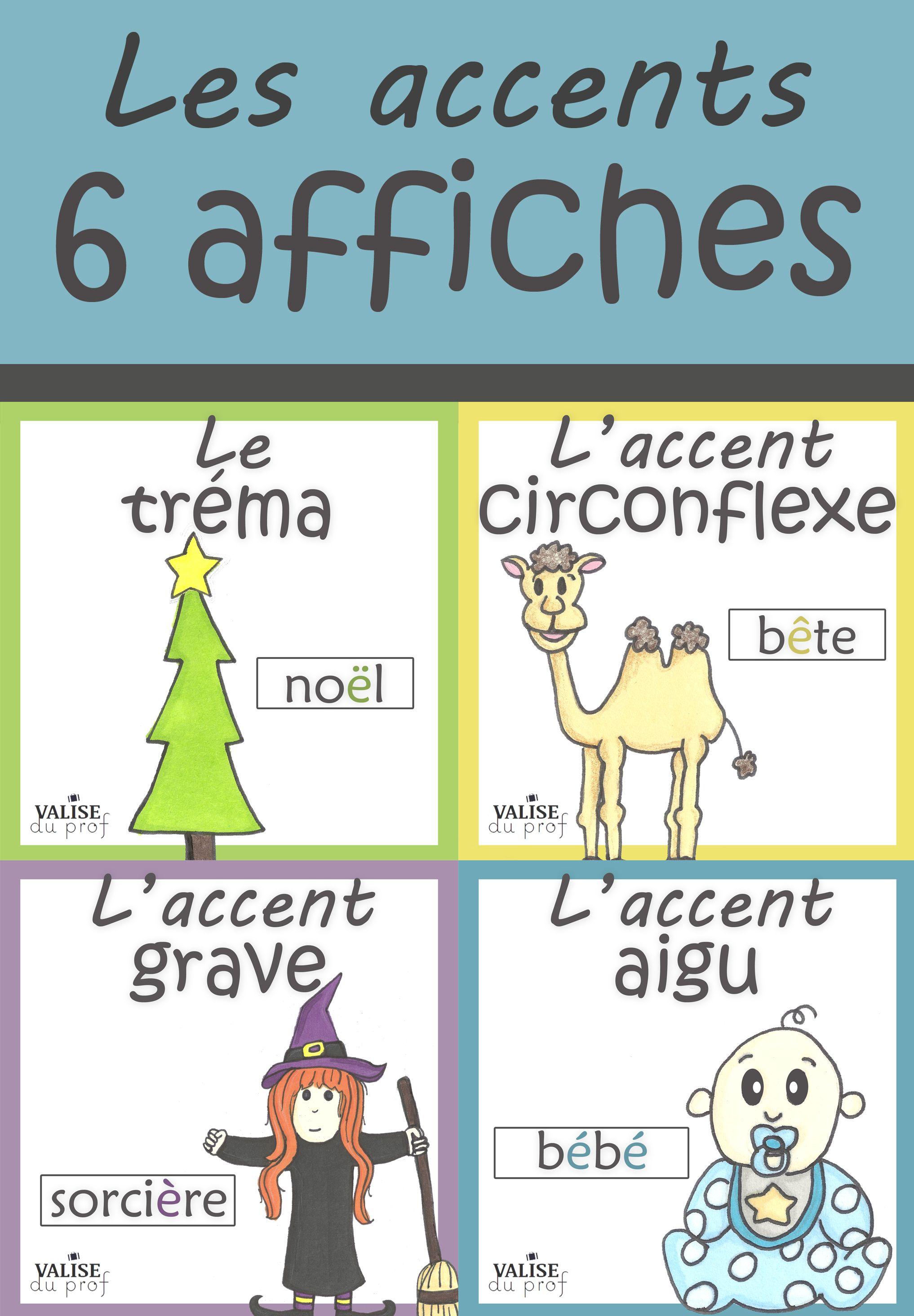 Affiches sur les accents.   Leçon de français, Affiches ...