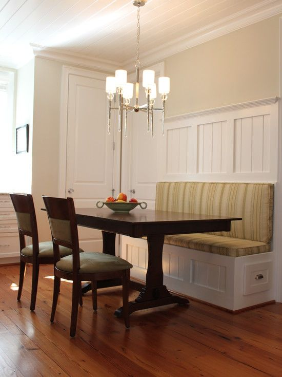 dining room bench table | built in bench, put a table in front of it and voila ...