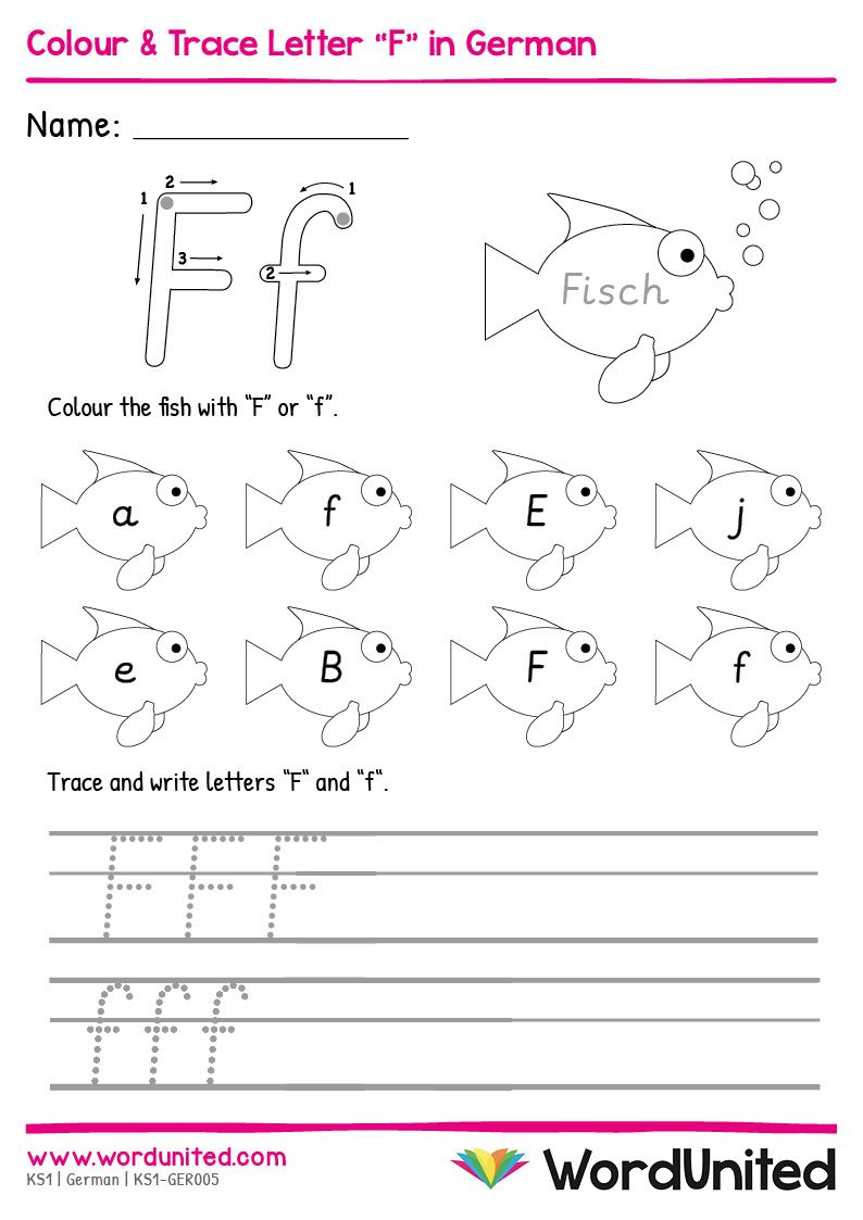 Colour Trace Letter F In German Wordunited In 2021 Letter Worksheets For Preschool Teaching Handwriting Letter F [ 1123 x 794 Pixel ]