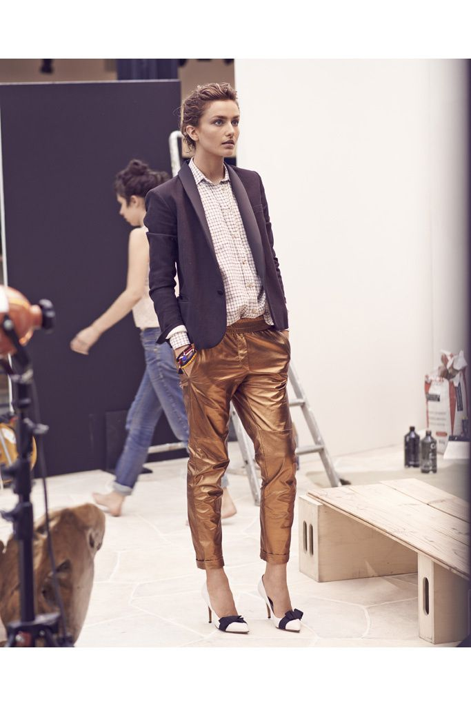 Isabel Marant Crucero 2014. Metalic pants + shirt + blazer