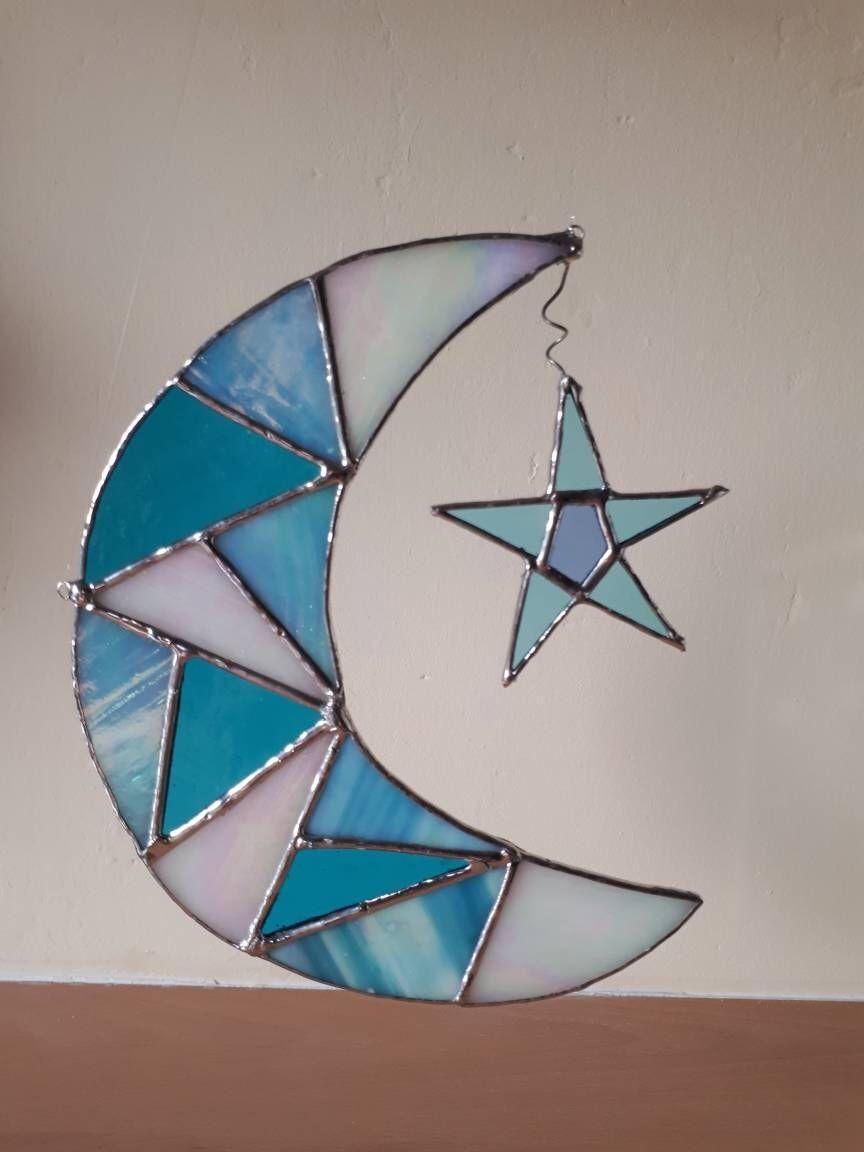 Stained Glass Moon Star Celestial Suncatcher Blue Moon Sun Etsy Stained Glass Ornaments Stained Glass Suncatchers Stained Glass Patterns