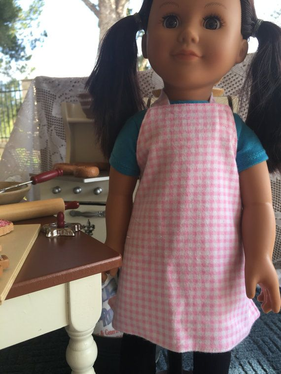 """Doll Apron Pink White Flannel 18"""" Pretent play Clothes Kitchen Cooking Mommy and Me"""