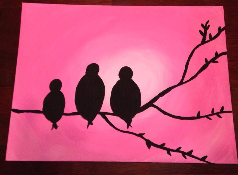 Pink Bird Family canvas painting