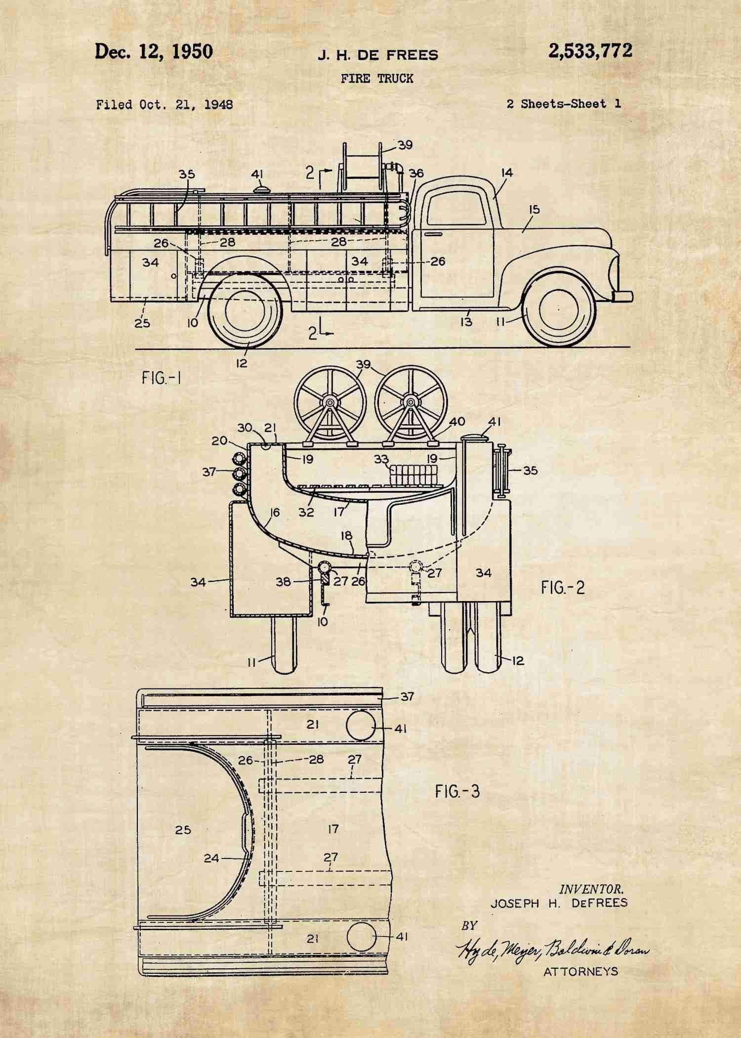 Firefighter Truck Patent Print
