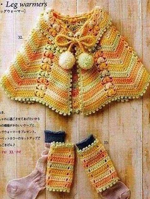 Patrón #1072: Capa niña a Crochet | CTejidas [Crochet y Dos Agujas ...