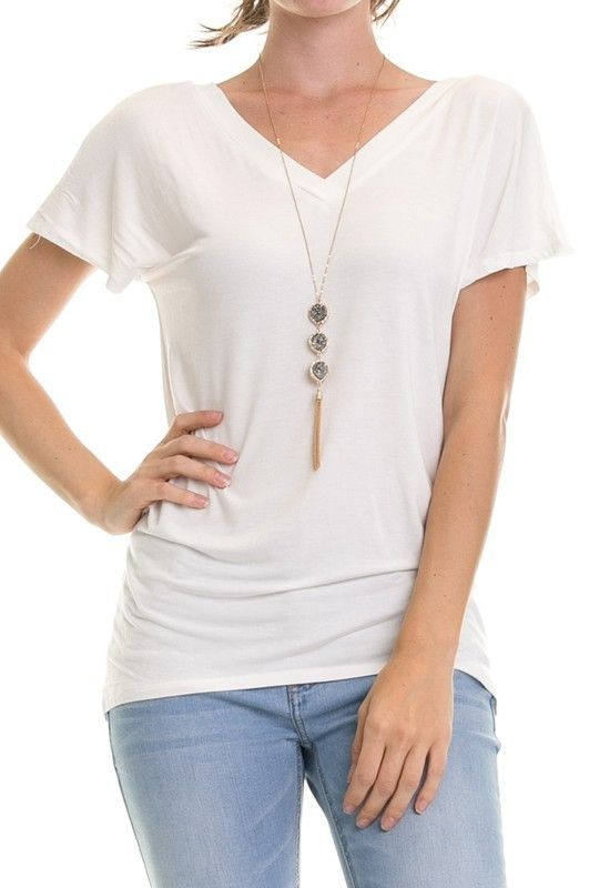 Bamboo Solid V neck TOP short sleeve 24051
