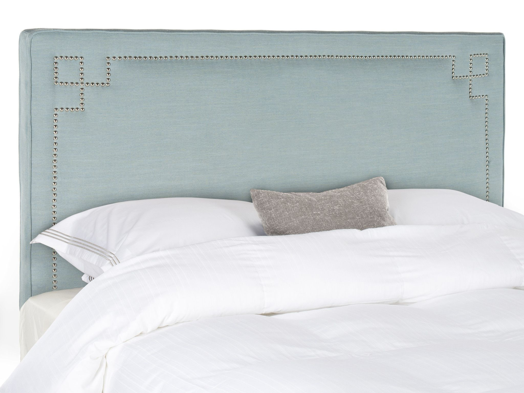 Remington sky blue headboard silver nail head queen blue