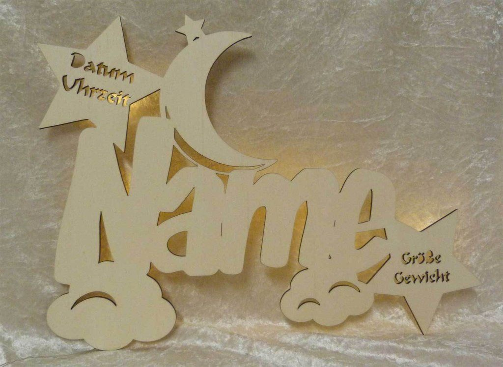 Wolkenmondi Led Lampe Aus Holz Mit Namen Und Geburtsdaten Zur Taufe Taufgeschenke Geschenke Zur Geburt