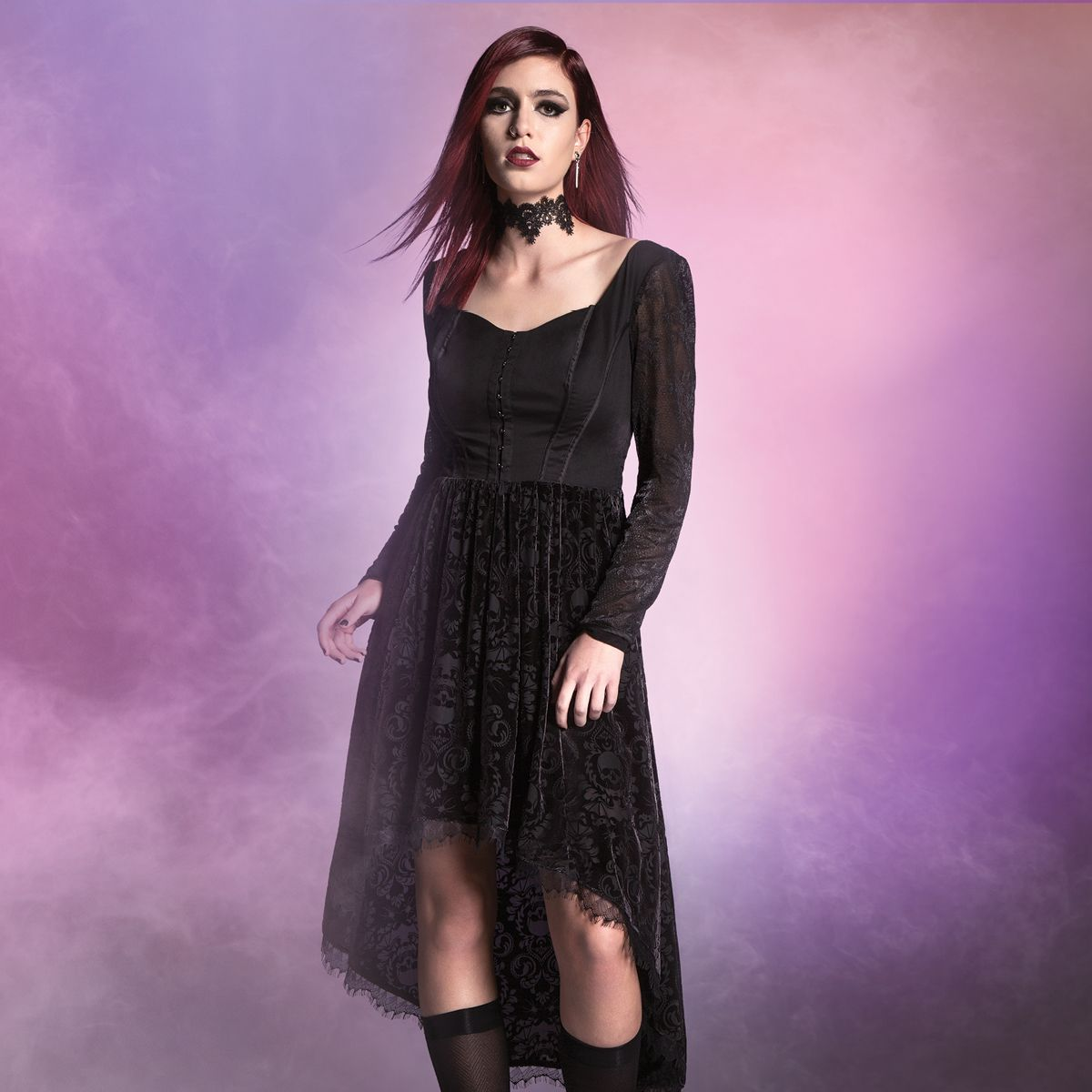 Seize the throne. Do prom your way // Lace Long Sleeved Brush Velvet ...