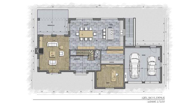Villa te deurle henties bay pinterest idee n for Grondplannen woningen