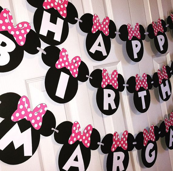 Minnie Mouse Birthday Banner 1st By ConfettiPopParty