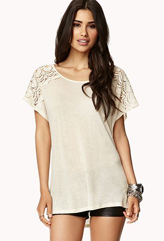 74eb83853a6 Off white lace shoulder shirt