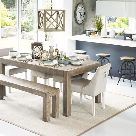 Dining Furniture Stores: Post & Rail Dining Table -Driftwood - 4