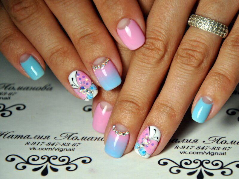 Light Blue Acrylic Nails Butterfly