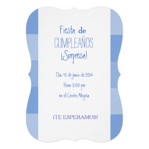 Invitación Fiesta Sorpresa De Cumpleaños Azul Zazzle