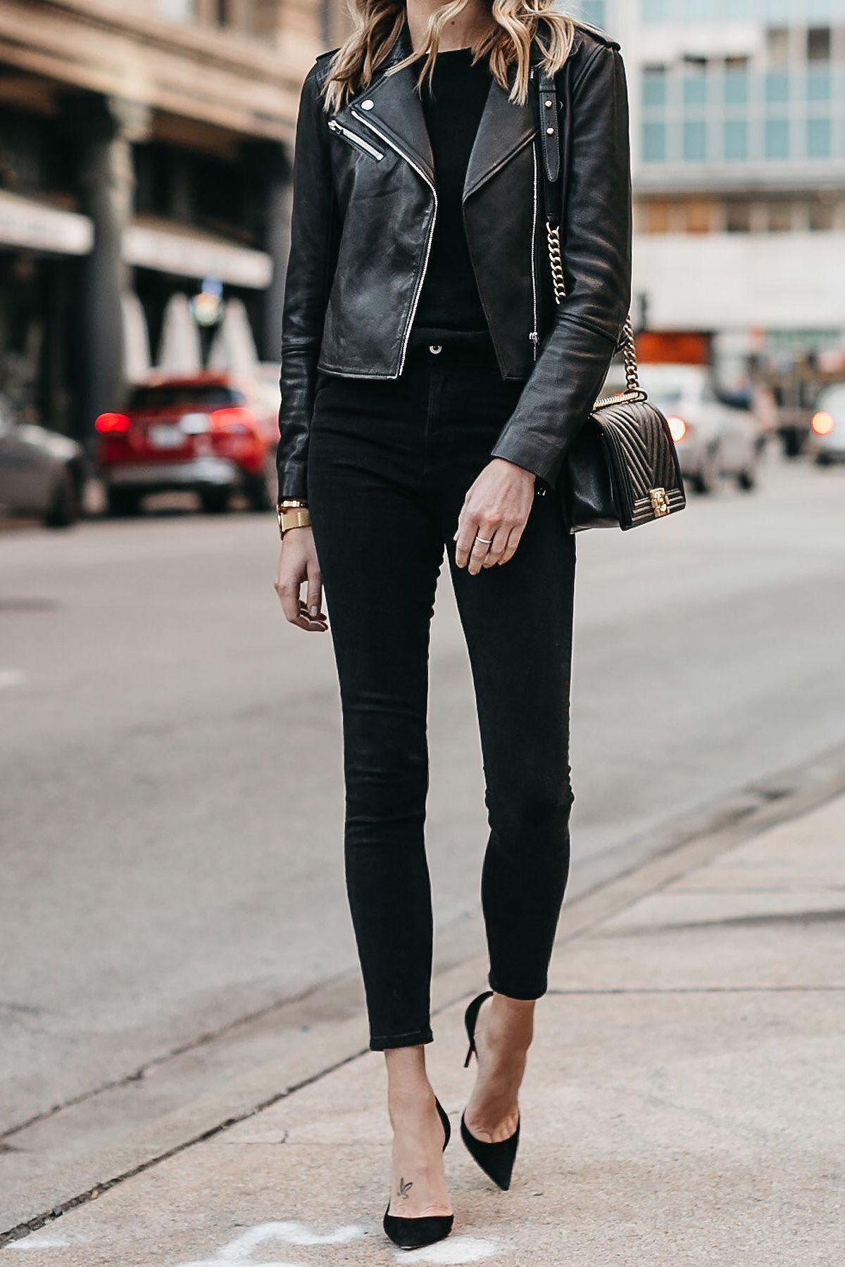 3f5faa004d829 Club Monaco Black Leather Jacket Black Sweater Black Skinny Jeans Black  Pumps Chanel Boy Bag Fashion Jackson Dallas Blogger Fashion Blogger Street  Style