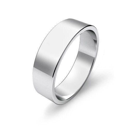 Mens Flat Wedding Band Platinum Ring