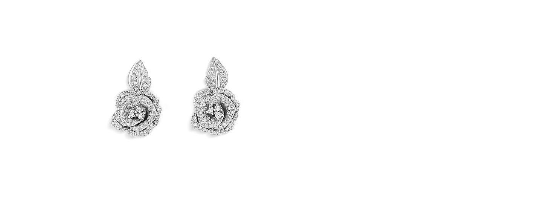 2f2b88305c Rose Dior Bagatelle earrings, medium model, in 18k white gold and ...