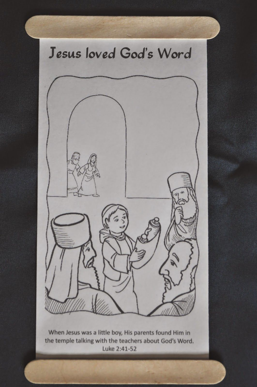 Lesson 41 -The boy Jesus in the temple scroll coloring page ...
