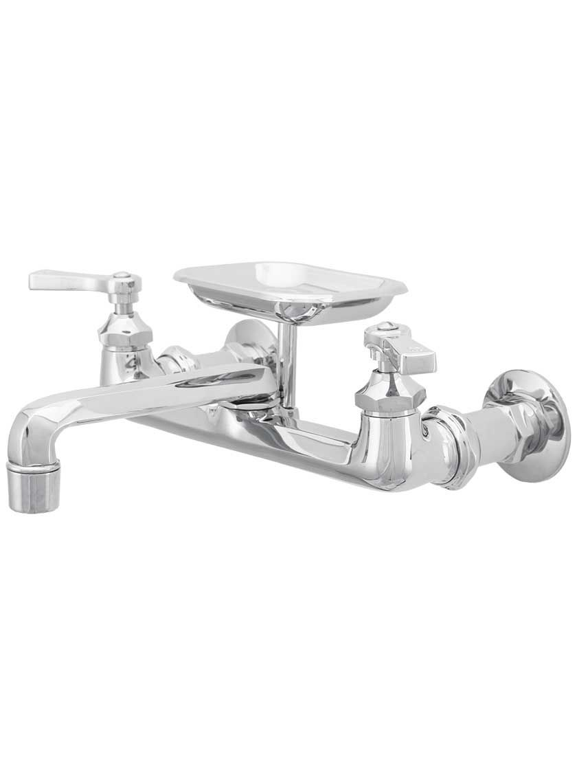 Mississippi Wall Mount Kitchen Faucet With Soap Holder And Flat
