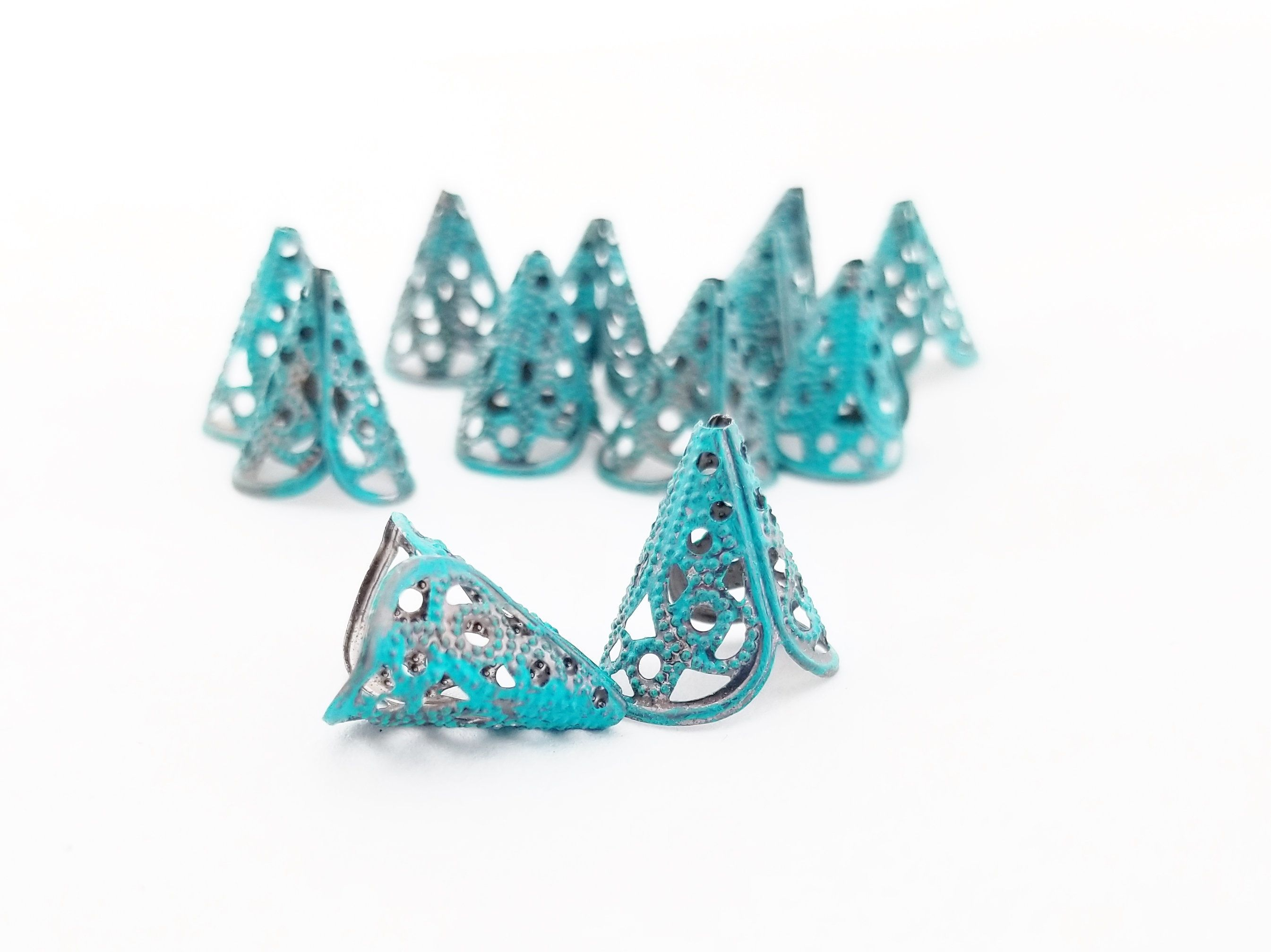Colored Findings Earring Pair TWO Blue Bead Caps The Blue Hutch DIY Jewelry Bronze Cones Filigree Bead Caps Jewelry Findings
