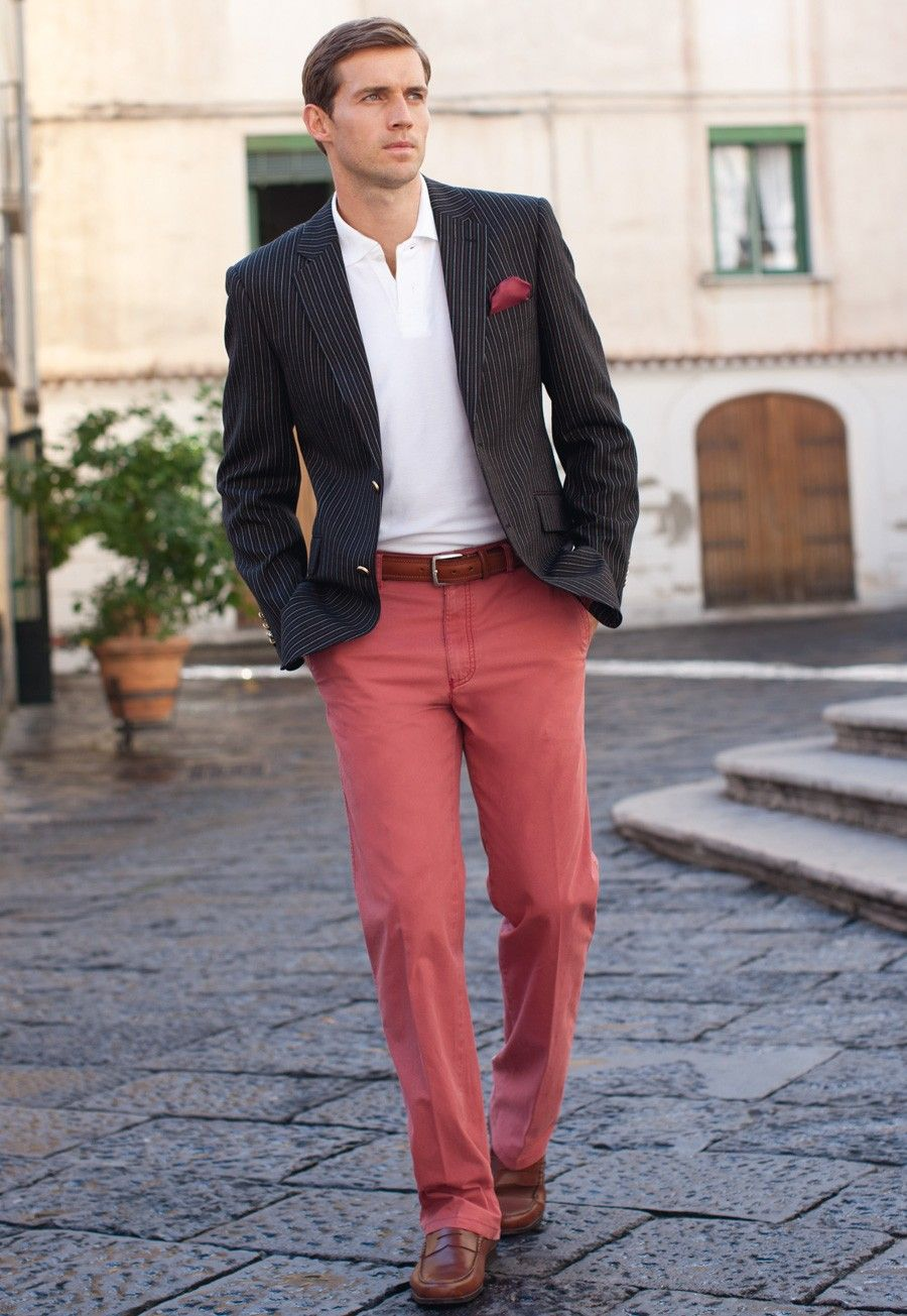 6e76ea510515 Men's Fashion | Spring Summer Trend | Navy Blue Blazer with Coral Chino and  White Shirt