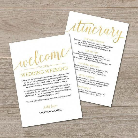 gold welcome letter template create your own wedding welcome bag note andor printable itinerary with this editable template both templates are included so