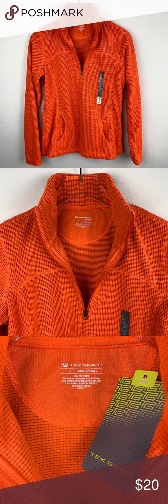 TEK GEAR — Orange Running Half Zip Track Jacket S NEW WITH