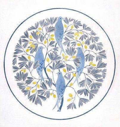 Textile design, four birds perched in stylised olive branches, by C.F.A.Voysey (1857 - 1941). Watercolour and ink. England, 1903.