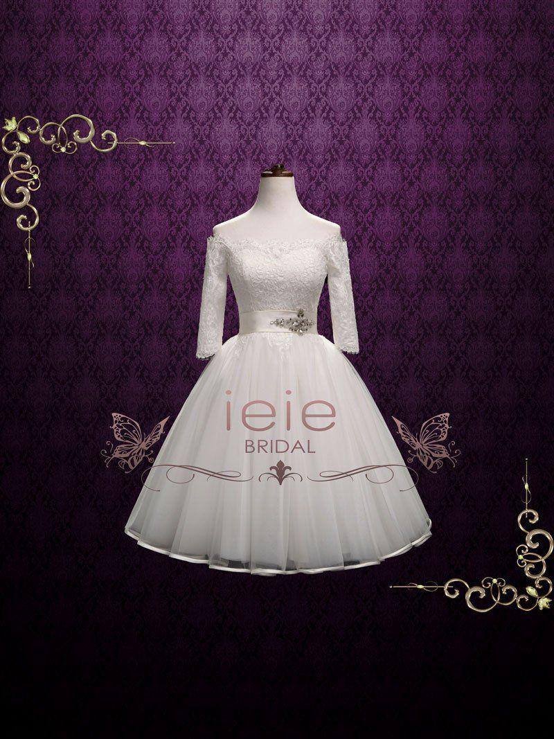 Off the shoulder tea length wedding dress  Retro Vintage Lace Tea Length Wedding Dress with Off Shoulder